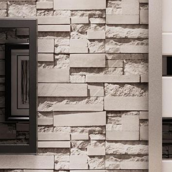 10M wallpaper 3D Brick STONE Natural Colour Slate outdoor rustic look Grey Color wallpaper waterproof tapete for living room