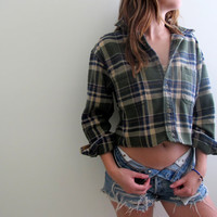Plaid Shirt Flannel Womens Cropped Crop Top Button Up Down Green Grunge Size Medium Western Redneck Costume Halloween