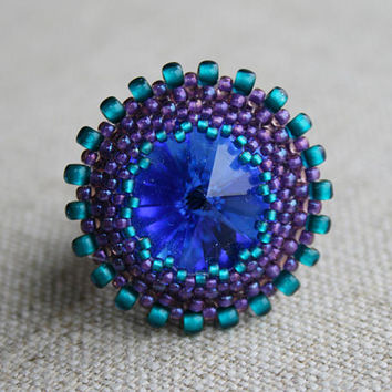 indigo blue ring, SWAROVSKI RING, purple blue ring, beaded ring, seed bead ring woven ring boho ring, BEADWORK art, victorian ring, handmade