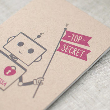 Small Notebook with Pencil - Top Secret Robot - Eco Friendly, Stocking Stuffer - Personalized Option