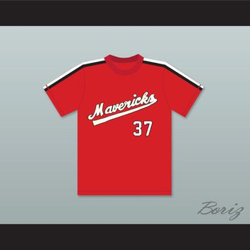 Gene Lanthorn 37 Portland Mavericks Red Baseball Jersey The Battered Bastards of Baseball