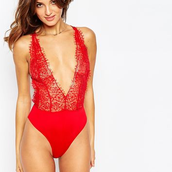 ASOS Scarlet Lace High Leg Body