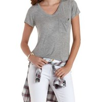 Heather Gray V-Neck Boyfriend Pocket Tee by Charlotte Russe