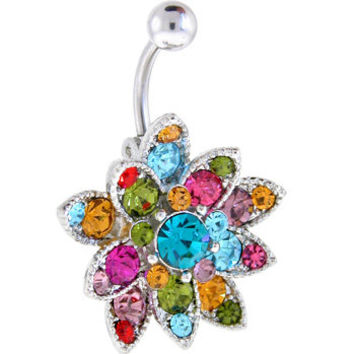 Multi-Color AUSTRIAN Crystal PETALS Belly Ring | Body Candy Body Jewelry