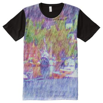 Sea and boat drawing All-Over-Print shirt