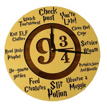 HT Platform 9 ¾Harry Potter Wall Clock By Handmade Wooden Timepiece For HP Fans &Enthusiasts –MagicalDecorative Piece For Your Home, Bedroom, Office –PerfectUnisex Gift For Kids, Teens &Adults