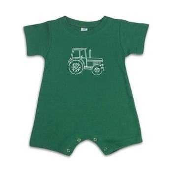 Big Green Tractor Short Sleeve Infant Romper