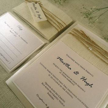 Burlap Wedding Invitation Rustic Wedding Invites Shabby Chic Wedding Invitation White Burlap