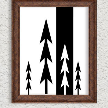 Scandinavian Print Scandinavian Printable poster Modern Art Print Wall Décor Black and White Wall Art Nordic design Forest Trees Minimalist