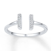 Midi Ring Diamond Accents Sterling Silver