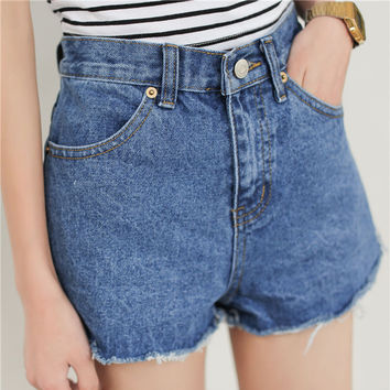 High-waisted Slimming Fringe Denim Shorts