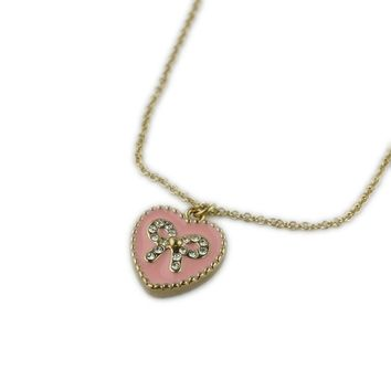European and American jewelry Fashion Personality Short Love Heart Necklace Pink Clavicle Chain Flash Diamond Bow Accessories FV