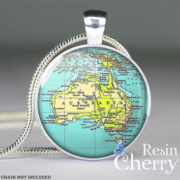 vintage Australia map pendant, map jewelry pendant, map necklace pendant, map charm jewelry- M3011CP