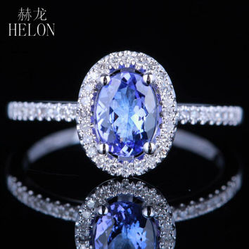 HELON 7x5MM OVAL SHAPE TANZANITE & PAVE NATURAL DIAMONDS ENGAGEMENT WEDDING RING 14K WHITE GOLD WOMEN'S JEWELRY FINE RING