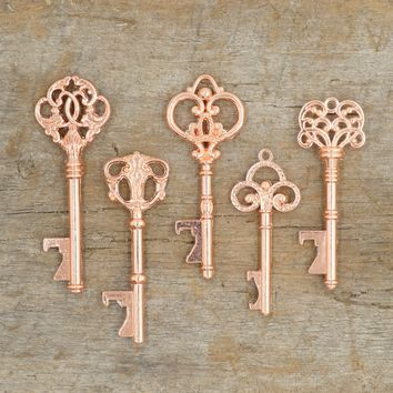 50 Assorted Key Bottle Openers - Rose Gold