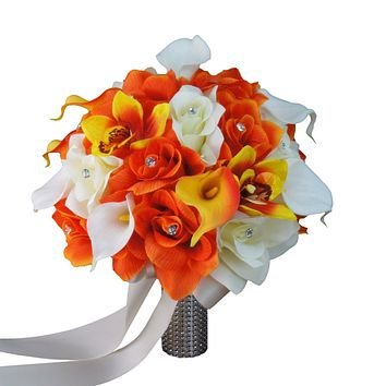 Perfect for Fall wedding- Orange, Yellow, Ivory - Roses and Calla Lilies