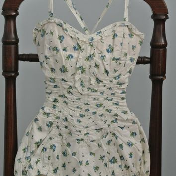 A Cotton 1950's One-Piece Flowered SwimSuit Jantzen