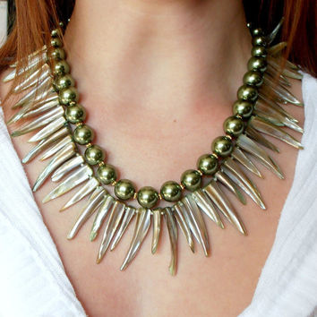 Beaded Necklace Tribal Sage Green Shell Teeth by FiveLittleGems