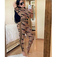 FENDI New Women Casual Shorts Sleeve Top Pants Trousers Set Two-Piece Sportswear Coffee