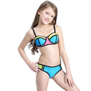 VONEFX8 Patchwork Swimsuit Girls Bikini Kids 2017 Children Swimwear for Teenage Girls Child Bikini Set Beachwear Baby Swim Bathing Suits