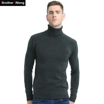New Turtleneck Slim Pullover Solid Color Knitted Sweater For Men