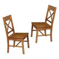 "Millwright Wood Dining Chair - Set of 2 (Antique Brown) (39""H x 21""W x 18""D)"