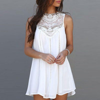 Women Casual Loose Sexy Lace Patchwork Mini Sundress Dress White +Free Gift -Random Choker