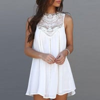 Fashion Women Casual Loose Sexy Lace Patchwork Mini Sundress Dress White +Free Gift -Random Choker