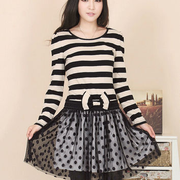 Striped Long Sleeve Polka Dot  Mesh Low Waist Bow Chiffon Pleated Mini Dress