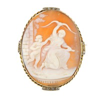A late 19th century gold, diamond and cameo brooch