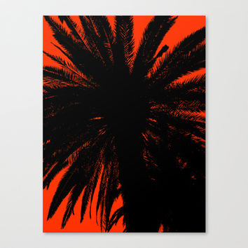 Palm Trees Silhouette - Orange Sunset Canvas Print by Moonshine Paradise
