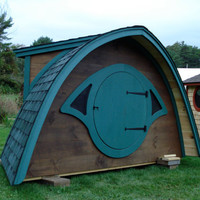 Sale Wooden Hobbit Hole playhouse with a round by HobbitHoles