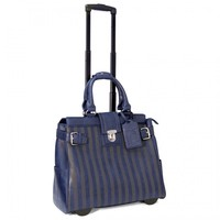 "Cabrelli 15.6"" Women's Rolling Laptop Bag - Lazer Striped Rollerbrief - Laptop Bags"