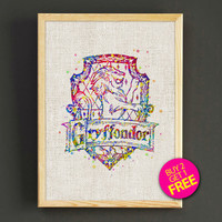 Gryffindor Quotes Watercolor Art Print Harry Potter Poster House Wear Wall Decor Gift Linen Print - Harry Potter - Buy 2 Get 1 FREE - 63s2g