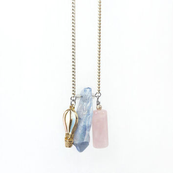 Pantone Color of the Year Inspired Jewelry, made of Serenity Blue Rock Crystal and Rose Quartz Gemstone Pendant Necklace