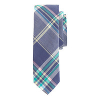 J.Crew Mens Indian Cotton Tie In Misty Ocean Plaid
