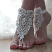 FREE SHIP ivory Barefoot , pearl embroidered french lace sandals, wedding anklet, Beach wedding barefoot sandals,