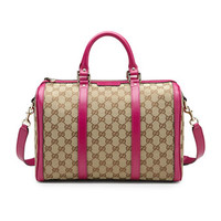 Gucci Vintage Web Original GG Canvas Boston Medium Bag, Brown/Pink