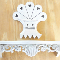 Antique Rustic French Farmhouse Fleur de lis Wall Decor, Architectural Salvage, New Old Stock, Shabby Victorian Chic, Hand Painted