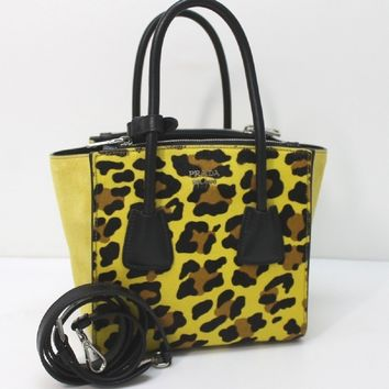 Prada Leopard Pattern Neon Yellow Suede and Pony Hair Cross body Bag 1BA025