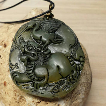 Mens necklace. Carved Jade pendant. Longevity pendant. Chinese dragon pendant. Reiki jewelry for Luck. Crystal healing for heart chakra