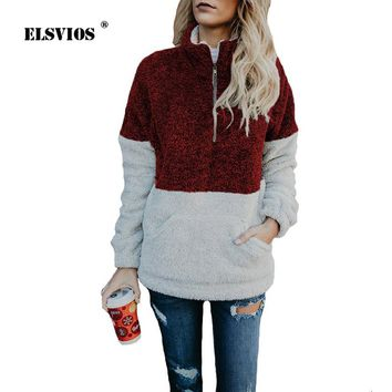 ELSVIOS 2018 Autumn Winter Sherpa Knit Soft Fleece ColorBlock hoodies Women's 1/4 Zipper Pullover Outwear Coat kangaroo Pockets