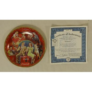 Bradford Exchange 6523A * Coca-Cola Collector Plate 5 3/4in Febuary 1999 Porcelain  -- Used