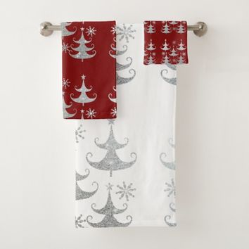 Christmas, Silver Glitter Trees, Custom Bath Towel Set