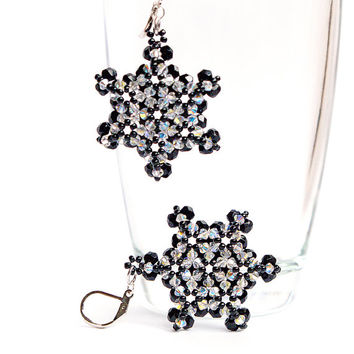 Beaded Earrings, Swarovski Earrings, Crystal Earrings, Star Earrings, Geometric Earrings, Black White Earrings - FREE SHIPPING