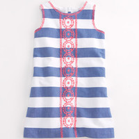 Girls Wide Stripe Embroidered Dress