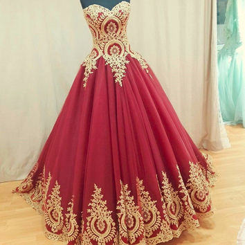 2017 New Sexy Red Ball Gown Prom Dress with Gold Lace Appliques Sweetheart Corset Back Floor Length Evening Party Dress WH203