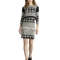 Donna Morgan Plaid Mixed Print Popover Dress
