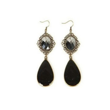 Gothic Imitation Crystal Earrings Bijoux Women Black Color Water Drop Dangle Earrings Designer Jewerly = 1668785412