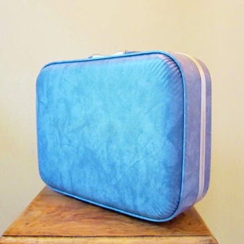 Vintage Luggage Train Case MARBLE BLUE 1960s